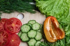 Sliced cucumbers, tomatoes and pepper on a wooden board with frame of herbs royalty free stock images