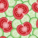 Sliced cucumbers and tomatoes seamless pattern Stock Photo