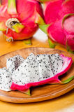 Sliced dragon fruit in a plate Stock Photos