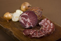 Sliced dried meat Royalty Free Stock Image