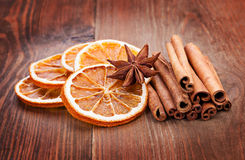 Sliced of dried orange, anis and cinnamon Royalty Free Stock Photos