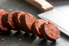 Sliced dried sausages Stock Photography