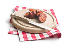 Sliced dried sausages Royalty Free Stock Image