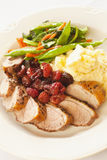 Sliced duck breast cooked with cherries Stock Photography