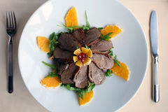 Sliced duck with oranges Royalty Free Stock Photography