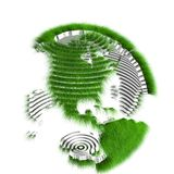 Sliced earth globe covered with grass Royalty Free Stock Photo