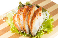Sliced eel with salad Royalty Free Stock Photography