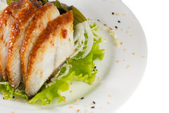 Sliced eel with salad Stock Photography