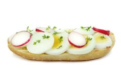 Sliced egg and radish Stock Images