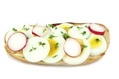 Sliced egg and radish Stock Photo