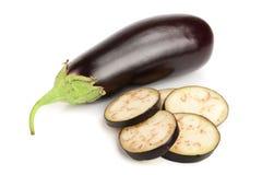 Sliced eggplant or aubergine vegetable isolated on white background Stock Image