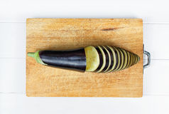Sliced eggplant wood Royalty Free Stock Images