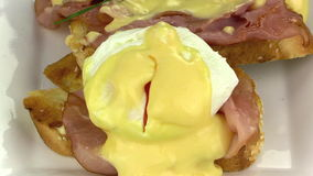 Sliced Eggs Benedict 4 stock video footage