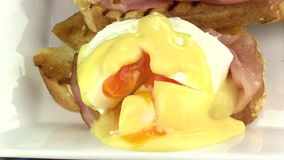 Sliced Eggs Benedict 3 stock video footage