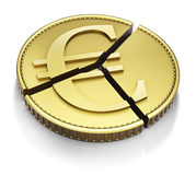 Sliced Euro coin. Chart pie made with a euro gold coin, isolated on white Royalty Free Stock Photo