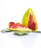 Sliced fig fruit on a leaf Royalty Free Stock Images