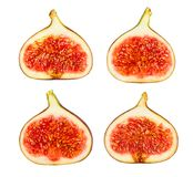 Figs. Sliced figs path isolated on white stock photos