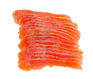 Sliced fillet of salted rainbow trout closeup Royalty Free Stock Images
