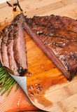 Sliced Flank Steak, Asparagus and Salmon Royalty Free Stock Images