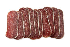 Sliced flat sausage Royalty Free Stock Image