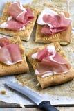 Sliced Focaccia Bread with Parma Ham royalty free stock photo