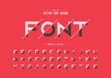 Sliced font and alphabet vector, Bold typeface letter and number design, Graphic text on background. Sliced font and alphabet vector, Bold typeface letter and stock illustration