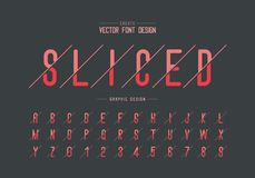 Sliced font and alphabet vector, Letter style typeface and number design, Graphic text on background. Sliced font and alphabet vector, Letter style typeface and royalty free illustration
