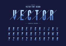 Sliced font and alphabet vector, Tall typeface letter and number design, Graphic text on background. Sliced font and alphabet vector, Tall typeface letter and stock illustration