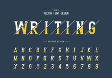 Sliced font and alphabet vector, Writing style typeface letter and number design, graphic text on background. Sliced font and alphabet vector, Writing style vector illustration