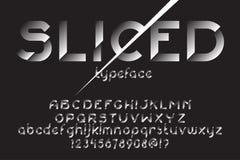Sliced font set. Sliced font. Original slice typeface for advertising, logo, labels. Typographic distortion font. Vector illustration stock illustration