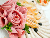 Sliced food arrangement Royalty Free Stock Photography