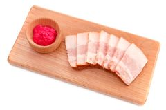 Jowl bacon with horseradish sauce Stock Images