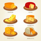 Sliced french and swiss cheese food icons Royalty Free Stock Image