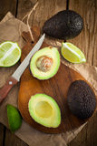 Sliced fresh avocado on cutting board Royalty Free Stock Image