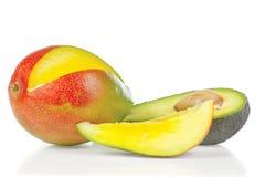 Sliced fresh avocado and mango Royalty Free Stock Photo