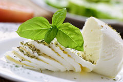 Sliced fresh cheese Stock Images
