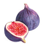 Sliced Fresh figs with cut pieces isolated on white background m Royalty Free Stock Photo