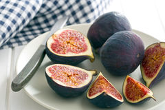 Sliced fresh figs Stock Photo
