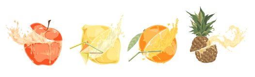 Sliced fresh fruits with straws, tasty drink, ripe apple, lemon, orange and pineapple, sweet tropical cocktails set. Delicious summer refreshment concept vector illustration