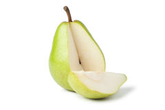 Sliced fresh juicy pear over white Royalty Free Stock Images