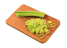 Sliced fresh leek Stock Photos