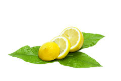 Sliced fresh lemon on green leaves Royalty Free Stock Photos