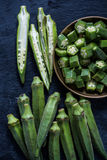 Sliced fresh okra from above Stock Photo