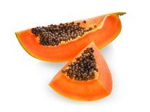 Sliced of fresh papaya isolated on white Royalty Free Stock Photography