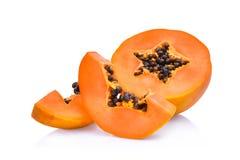 Sliced fresh papaya isolated on white Stock Image