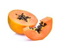 Sliced fresh papaya isolated on white Stock Images