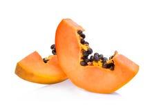 Sliced fresh papaya isolated on white Royalty Free Stock Photo