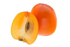 Sliced fresh persimmons Stock Images