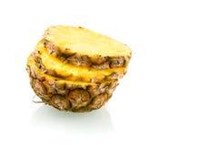 Sliced fresh pineapple. Slice fresh pineapple on white background stock image