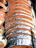 Sliced fresh raw salmon. Photo of sliced fresh raw salmon Royalty Free Stock Photos